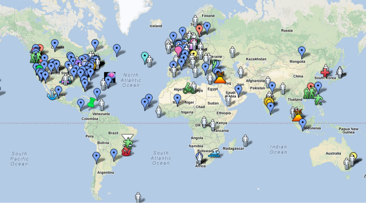 The map of participants in Learning Creative Learning, which was created by participants. , CC BY SA