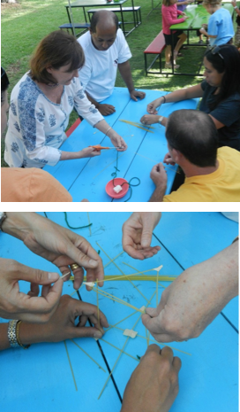 Participants collaborating to make a structure as part of the Marshmallow Challenge (photos by John Iglar). , CC BY SA